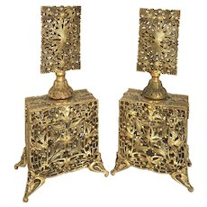 Vintage Gold Ormolu Perfume Bottle Pair