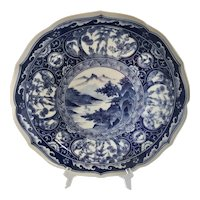 Vintage Jitsu-to Japanese Porcelain Blue and White Low Bowl