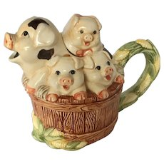 Vintage Pig and Corn Basket Ceramic Creamer