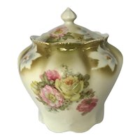 Vintage German Porcelain Transfer and Painted Biscuit Jar