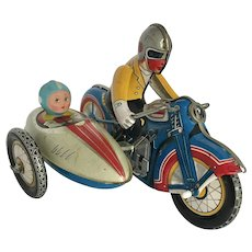 Vintage Tin Litho Windup Motorcycle and Sidecar