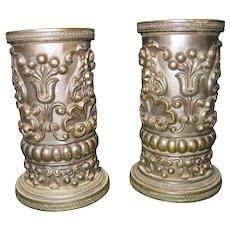 Pair Regency Style Embossed Bronze Vases