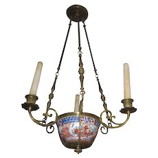 French 18th Century Chandelier with Chinese Export bowl