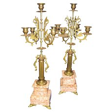 19th Century Brass and Rouge Marble French Candelabrum