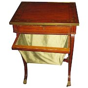19th c. Sheraton Work Table with Decorative Painted Accents