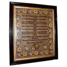 19th c. Framed Needlepoint Sampler
