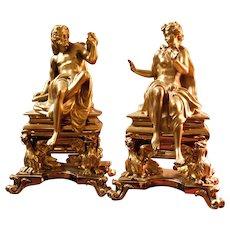 19th c. French Dore Bronze Figural Chenets