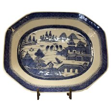 Early Chinese Export Hand Decorated Blue and White Platter Canton Ware