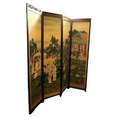 18th Century Japanese Four Panel Screen