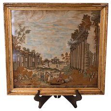 19th Century Silk Needlework  Depicting North View of the Quadrangle Ruins of Baalbek