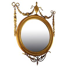 19th Century Adam Style Giltwood Convex Mirror