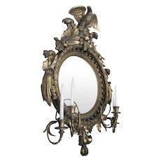 19th Century American Bulls Eye Gilded Wood Girandole Mirror