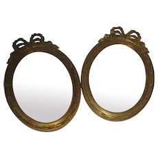 19th Century Petite Pair French GIltwood Mirrors