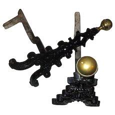 19th Century Wrought Iron and Brass Firedog Andirons