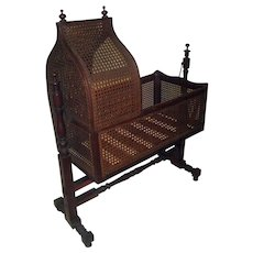 19th Century Gothic Revival Walnut Swinging Cradle