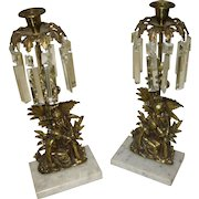 19th Century Brass and Crystal Girandoles