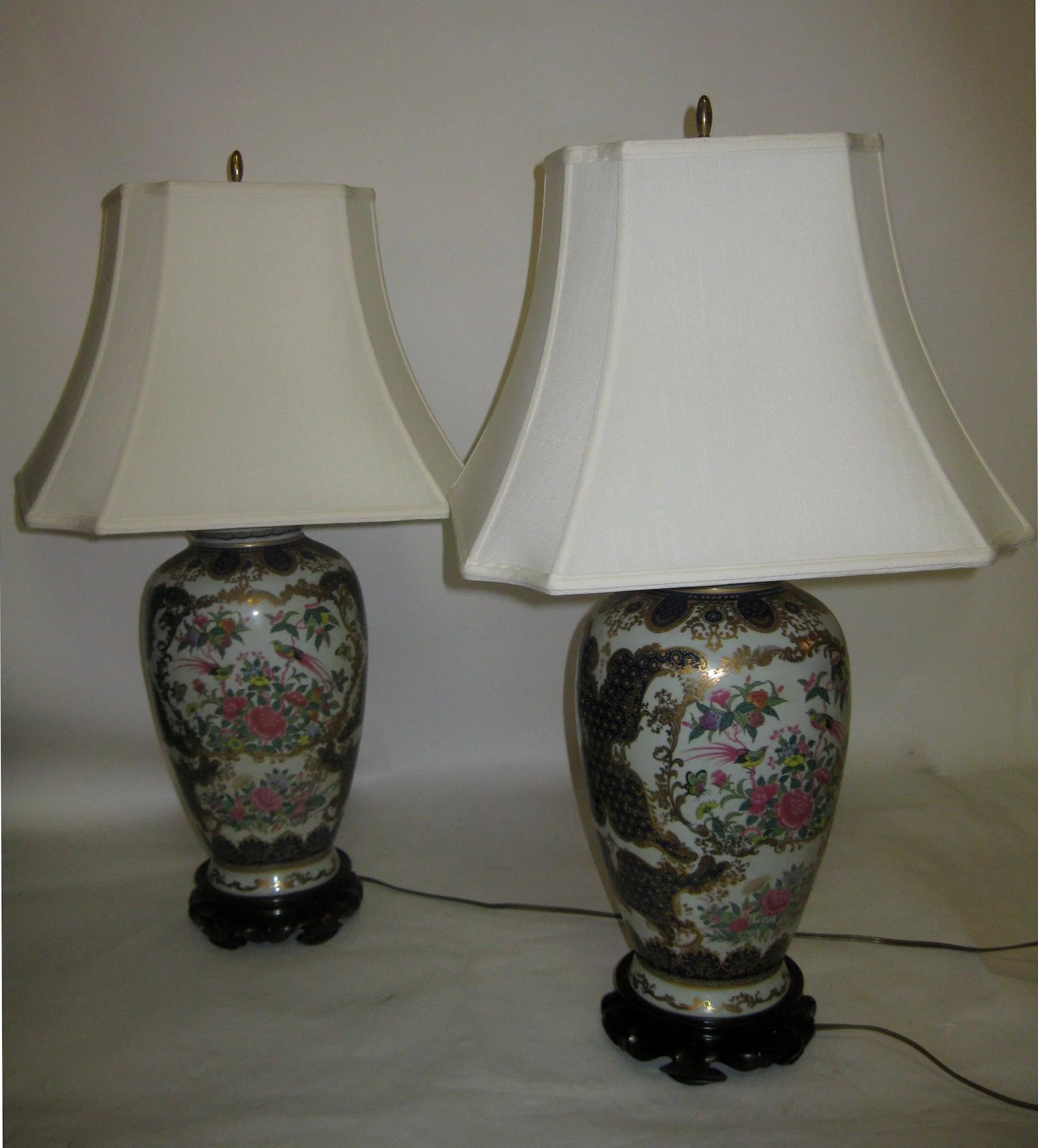 Vintage pair cobalt chinese vase lamps with bird motif savannah vintage pair cobalt chinese vase lamps with bird motif click to expand reviewsmspy