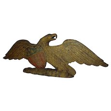 Carved and Painted Wooden Eagle with Shield Attributed to John Haley Bellamy