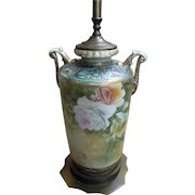 Antique Nippon Moriage Urn Lamp with Roses