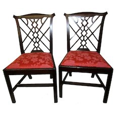 18th Century English Chinese Chippendale Mahogany Chair Pair