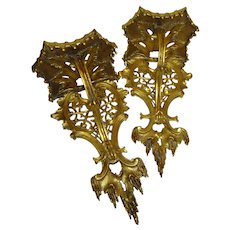 18th Century Chippendale Giltwood English Wall Bracket Pair
