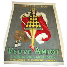"1920s Art Deco Poster by Cappiello: Veuve Amiot ""King of Sparkling Wines"""
