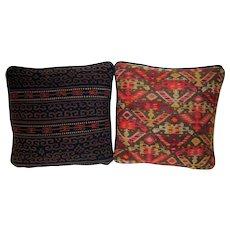 19th Century Turkish Kilim Remnant Pillow Pair