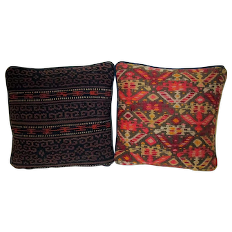 19th Century Turkish Kilim Remnant Pillow Pair