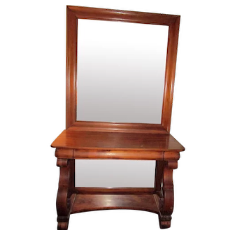19th Century American Empire Mahogany Pier Table with Double Mirrors