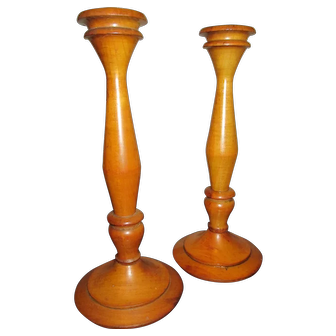 19th Century Maple Turned Wooden Candlesticks