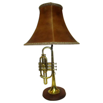 Brass Trumpet Converted to Lamp with Oak Base