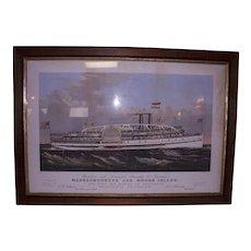 Original Currier & Ives Massachusetts & Rhode Island Steamers