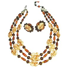 ART GLASS Multi Strand Necklace and Earrings Set Speckled Swirled Beads