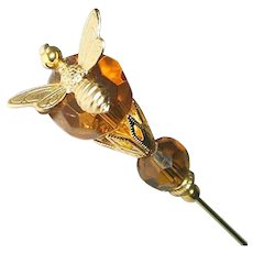 HONEY BEE Amber Color Crystal Stick Hat Pin Long Hatpin