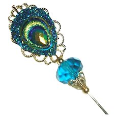 CARNIVAL COLORS PEACOCK FEATHER Long Hatpin Stick Hat Pin Gold Plated Victorian Style with Czech Glass Bead