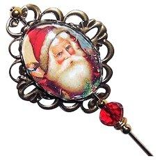 Victorian Style Santa Stick Pin Christmas Hatpin Long Hat Pin