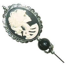 LADY SKELETON CAMEO Stick Hat Pin Long Hatpin Vintage Style Silver Plated