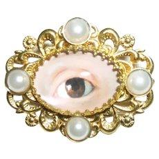 LOVERS EYE BROOCH PIN Victorian Style Sentimental Jewelry