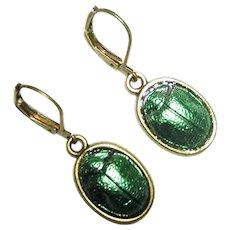 EGYPTIAN REVIVAL SCARAB Beetle Earrings Metallic Green Dangle Drops