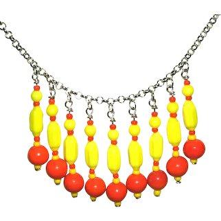 YELLOW RED Glass Bead Bib Collar Necklace Art Deco Style