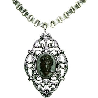 RAISED RELIEF RESIN PORTRAIT CAMEO Necklace Victorian Style Silver Plated Bookchain