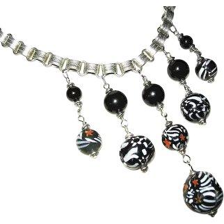 ZEBRA MILLEFIORI GLASS Beads Bib Necklace Victorian Silver Plated Bookchain