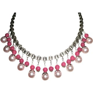 PINK  GLASS BEAD Bib Collar Necklace Victorian Silver Plated Bookchain