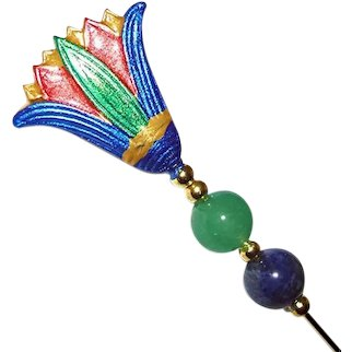 EGYPTIAN REVIVAL Lotus Flower Stick Hat Pin Long Hatpin