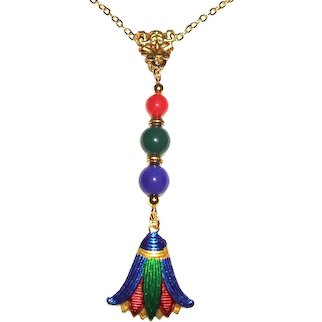 EGYPTIAN LOTUS FLOWER Necklace Red Green Blue GLASS Beads Art Deco Style Line Drop Gold Plated