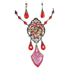 FLOWER GODDESS Necklace Earrings Set Art Nouveau Style Red Glass Statement Jewelry