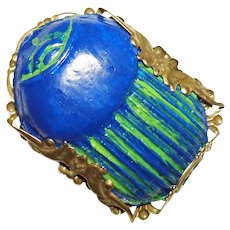 BLUE GREEN SCARAB Beetle Brooch Pin Egyptian Revival Style