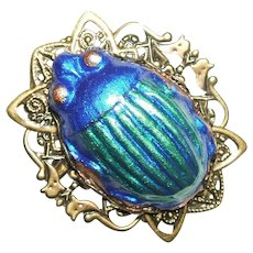METALLIC BLUE GREEN Scarab Beetle Egyptian Revival Brooch Pin
