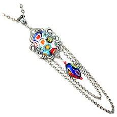 ITALIAN MILLEFIORI GLASS Necklace Long Swag Pendant Silver Plated Vivid Rich Multi-colors