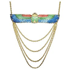 SCARAB WINGS Necklace Colorful Egyptian Revival with Swag Chains Drop Gold Plated
